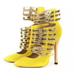 86.00$  Watch here - http://ali60w.worldwells.pw/go.php?t=32581790344 - Yellow Soft Leather Pointed Gladiator Shoes Women Gold Leather Straps Buckle Ankle High Heels OL Pumps Zapatos Mujer Tacon 86.00$