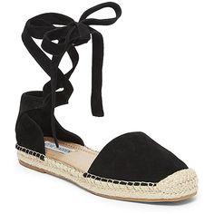 Steve Madden Women's Rosette Shoes ($80) ❤ liked on Polyvore featuring shoes, steve madden espadrilles, espadrilles shoes, d'orsay shoes, crisscross shoes and steve madden