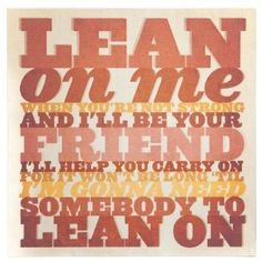 Amazon.com: Lean On Me by Bill Withers Wall Art Print Canvas Demdaco: Home & Kitchen