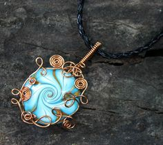 Copper Wire Wrap Swirl Lentil Polymer Clay Bead Pendant with Black Braided Leather Necklace $40.00