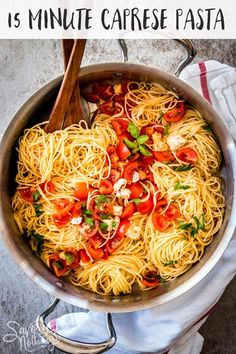 A 15 minute Caprese Pasta with tomatoes, mozzarella and basil - a delicious and super fast and easy vegetarian weeknight dinner. Quickly sautéing onion and garlic in olive oil first adds so much more flavour than simply tossing everything with the hot pasta!