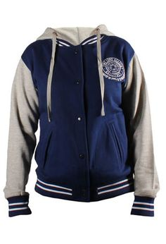 Gear up for the cold and show off your school pride with this varsity jacket. Featuring the Timelord Academy of Gallifrey emblem, the jacket come in a women's cut in a deep TARDIS blue with a hood. 100% cotton.
