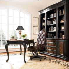 Traditional Writing Desk and Bookcase Small Office Set Hooker Furniture, Fine Furniture, Furniture Deals, Furniture Design, Home Office Chairs, Home Office Furniture, Desk Office, Office Suite, Business Furniture