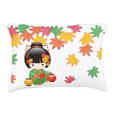 Rest your head on one of Zazzle's Geisha decorative & custom throw pillows. Green Kimono, Kokeshi Dolls, Geisha, Wall Stickers, Decorative Throw Pillows, Illustrators, Party Supplies, Whimsical, Snoopy