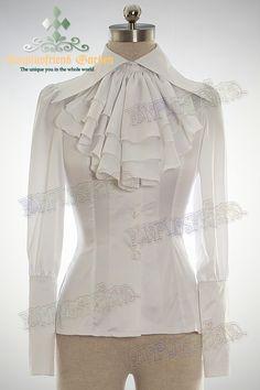 fanplusfriend - Elegant Gothic Unisex Large Peaked Collar Long Cuffs Silk Shirt