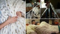 In the chilly weather, what would be better than sitting cozy with a book, a simmering cup of coffee and staying in bed under a warm knit fluffy blanket? Diy Knitting Scarf, Diy Scarf, Finger Knitting, Arm Knitting, Knitting Socks, Knitted Scarves, Crochet Toddler, Knit Or Crochet, Crochet Throws