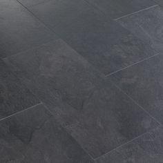Harmonia Black Slate Tile Effect Laminate Flooring m² Pack Tile Effect Laminate Flooring, Hall Flooring, Slate Flooring, Kitchen Flooring, Slate Floor Kitchen, Laminate Flooring Bathroom, Entryway Flooring, Ceramic Flooring, Garage Flooring