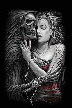 Death grim reaper Father Time scythe maid girl woman dance danse macabre skull…