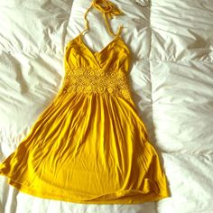 Mustard yellow top Has a little tiny hole on the back of top part. Please see photos. No one can see it from the outside. Notice the cute lacey middle part! Will show some skin. Rue 21 Tops Crop Tops