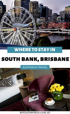 Are you looking for great places to stay in Brisbane, Australia? Discover one of the best accommodations in South Bank, Brisbane - Rydges South Bank has epic views of downtown South Bank. Plus find out what to do in South Bank during your stay! I things to do in Australia I where to go in Australia I places to go in Australia I places to visit in Australia I Australia travel I things to do in Brisbane I what to do in Australia I Brisbane hotels I hotels in Brisbane I #Australia #Brisbane Brisbane River, Brisbane Australia, Visit Australia, Western Australia, Things To Do In Brisbane, Australian Capital Territory, Flying With Kids, Australia Travel Guide, Fishing Charters