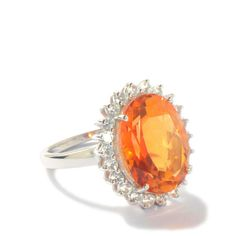 Padparadscha Colour Quartz Ring with White Topaz in Sterling Silver 9.56cts  Gemporia