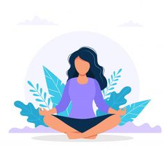 Woman meditating in nature. Art And Illustration, Flat Design Illustration, Character Illustration, Yoga Kunst, Cartoon Kunst, Yoga Art, Cartoon Art Styles, Girl Cartoon, Aesthetic Art