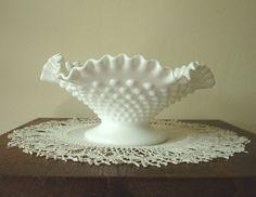 Fenton hobnail milk glass, low comport bowl, 1960s
