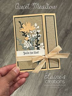 Learn how to make this cute card with Stampin' Up!'s Quiet Meadow stamp set and Meadow Dies in this video tutorial! Fun Fold Cards, Cute Cards, All Paper, Stampin Up, Card Making, Paper Crafts, Scrapbook, Art, Art Background