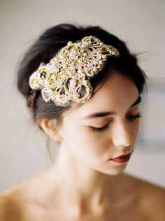 Bridal headpiece with freshwater pearls gold wrapped wire - emici bridal