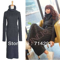 Free Shipping Winter Fashion Vintage Casual Turtleneck Heap Twisted Long Maxi Sweater Dress 9379 on AliExpress.com. $29.90