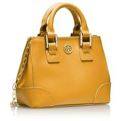 Tory Burch Robinson Shrunken Square Tote ($125) ❤ liked on Polyvore featuring bags, handbags, tote bags, purses, yellow tote, yellow purse, square tote, genuine leather handbags and leather handbags