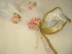 Peach Floral Venetian Mask by PartyBijou on Etsy, $50.00