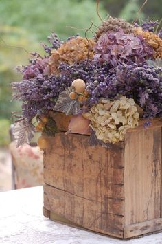 Subdued tones of thistles and mauves | Bridal floral arrangements #inspiration #provence                                                                                                                                                      More