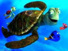 baby turtle, daddy crush, dory, & Nemo's dad marlin