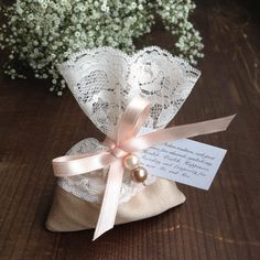 jordan almond favor bag, lace favor bag, italian wedding favors, jewellery favor pouch, baptism favors, party favor bags, vintage, bridal by TheWeddingBirds on Etsy https://www.etsy.com/listing/466591283/jordan-almond-favor-bag-lace-favor-bag