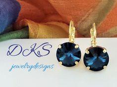 Montana Swarovski 12mm Earring, Gold Setting, Blue, Popular, Round, Lever Back, Bridal, DKSJewelrydesigns, FREE SHIPPING