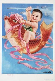 A gay baby riding a goldfish