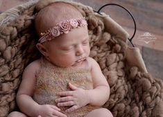 Rose Gold Headband / Flower Headband / Halo / Newborn /