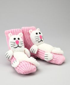 Take a look at this Pink & White Cat Slipper Socks by Crazy Sox on #zulily today!