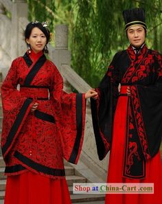 Traditional Chinese Wedding Dress 2 Sets for Men and Women