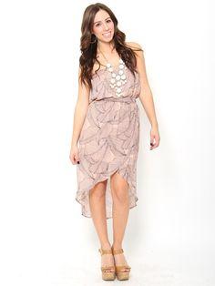 Leaf Print Chiffon #Dress