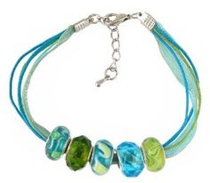 """Amazon.com: Bracelet - 5 Strand Organza & Cotton Cord with 5 """"Pandora"""" Style Beads - 7"""" + 1"""" Extension Chain ~ Aqua & Lime Green I (FB264): SERENITY CRYSTALS: Jewelry"""