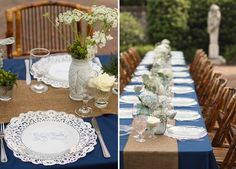 love the blue table clothes and burlap runner and different type center pieces