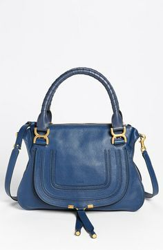 Chloé 'Marcie - Small' Leather Satchel available at #Nordstrom at around $1900.00. The detail and quality are worth every dime. The cobalt blue is gorgeous, comes in 7 more colors, but I will just be a admirer, not a buyer. That's ok. The beauty turns on my endorphins and makes me feel mighty fine.
