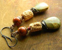 Owyhee Jasper Earrings Copper Green Orange Fall by ChrysalisToo, $40.00