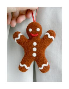 Needle Felted Gingerbread Man Christmas Decoration