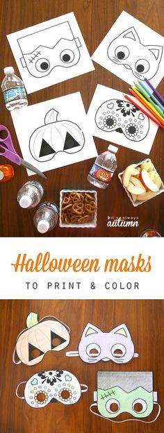 What a great idea for classroom Halloween parties! Free printable Halloween masks that kids can color in and cut out all by themselves. Easy and fun Halloween craft activity for kids. halloween crafts for kids Halloween Craft Activities, Fun Halloween Crafts, Halloween Tags, Craft Activities For Kids, Kids Crafts, Trendy Halloween, Halloween Games For Preschoolers, Craft Kids, Party Crafts