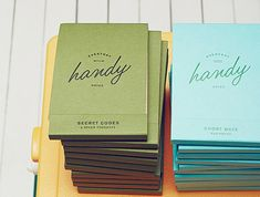 How cute are these Handy notebooks? I love the Secret Codes caption on the green one. Book Drawing, Stationary Design, Secret Code, Branding, Sideshow, Book Binding, Paper Goods, Packaging Design, Print Design