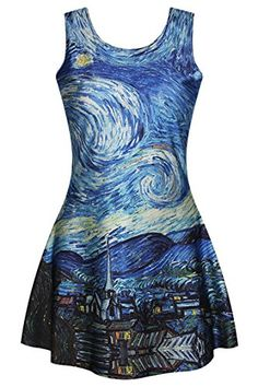 Pink Queen Womens Girls Van Gogh Starry Night Printed Pleaed Flared Skater Dress Pink Queen http://www.amazon.com/dp/B019DF7DDO/ref=cm_sw_r_pi_dp_qq9Mwb1R39FDM