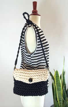 Black/Ivory Knitted Paracord/Rope Crossbody Bag by agirlnamedsoo