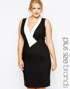 Paper Dolls Plus Contrast Plunge Neckline Pencil Dress