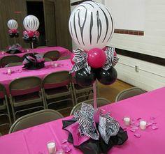 zebra party centerpiece