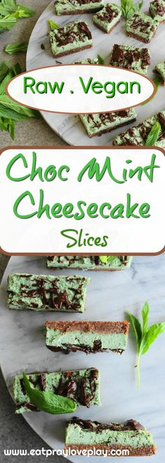 Delicious refined sugar free vegan raw cheesecake which is super simple to make and gorgeously delicious and healthy! Mint Chocolate Cheesecake, Raw Vegan Cheesecake, Mint Cheesecake, Vegan Cake, Vegan Chocolate, Cheesecake Recipes, African Dessert, Roh Vegan, Paleo Vegan