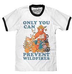 Tee Luv Smokey Bear T-Shirt - Only You Can Prevent Wild Fires Ringer Shirt  (SM) 713832e1e