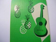 Art Deco ukulele pineapple, linen playing cards, ephemera,scrapbook,paper craft,mixed media,. $5.00, via Etsy.