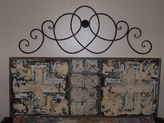 Headboard For My Waterbed That I Made From Old Metal Ceiling Tiles! Home Improvement Projects, Home Projects, Metal Ceiling Tiles, Water Bed, Vintage Decor, Crafty, Tile Art, Remodeling Ideas, Bohemian Style