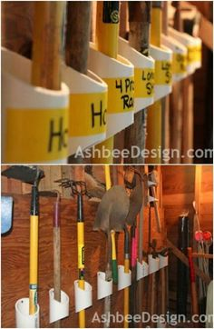 25 Life-Changing PVC Pipe Organizing and Storage Projects Garden Tool Organizer Storage Shed Organization, Garden Tool Storage, Garden Tools, Storage Ideas, Garage Storage, Garden Sheds, Pvc Pipe Projects, Home Projects, Pvc Pipe Storage