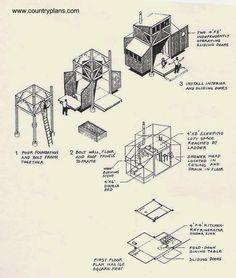Varios dibujos muestran etapas de la construcción y detalles del interior