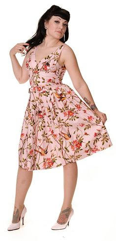 Retro frock in pink bird print - Vanity Project by Limb