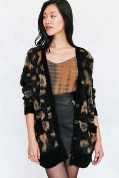Ecote Leopard Brushed Boyfriend Cardigan - Urban Outfitters